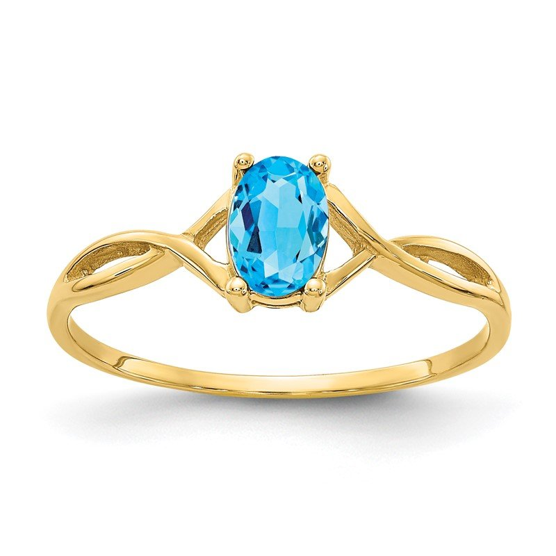 Quality Gold 14k Blue Topaz Birthstone Ring