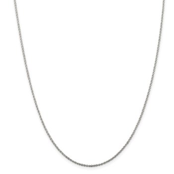 Sterling Silver Rhodium-plated 1.3mm Loose Rope Chain
