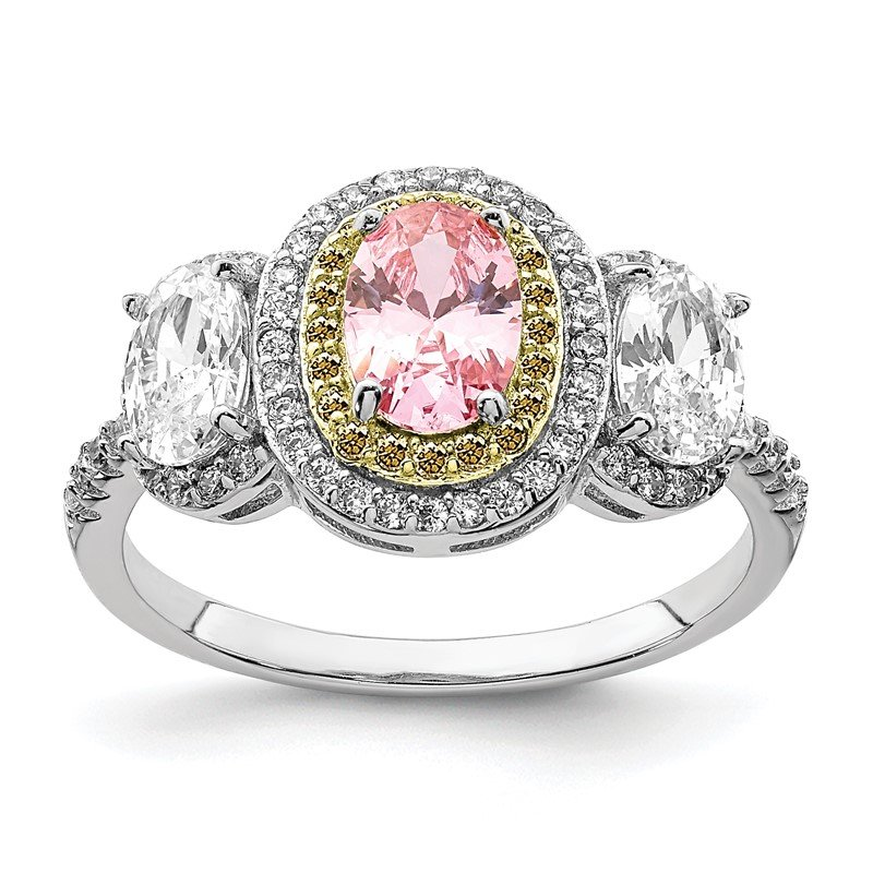 Quality Gold Sterling Silver Rhodium-plated Pink, White, & Yellow CZ Oval Cut Ring