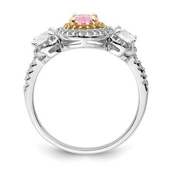 Sterling Silver Rhodium-plated Pink, White, & Yellow CZ Oval Cut Ring