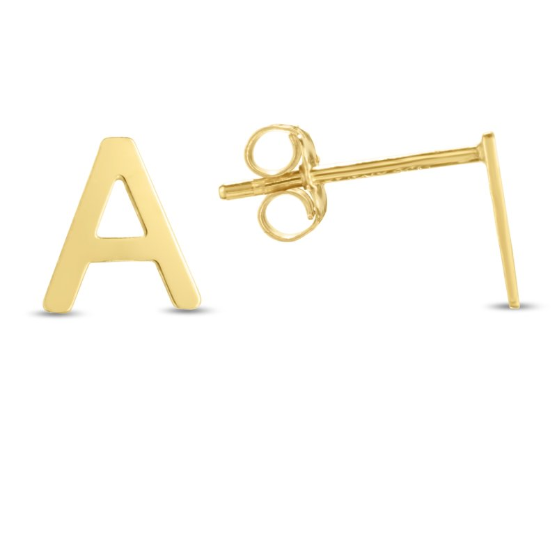 Royal Chain 14K Gold Initial A Stud Earring