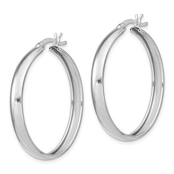 Sterling Silver 4mm x 34 Hoop Earrings
