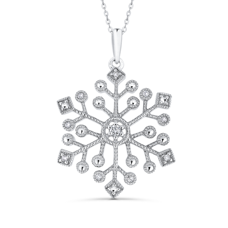 0.08 Ct Diamond Snow Flake Pendant with Chain