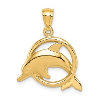 14K Polished Dolphin in Ring Pendant