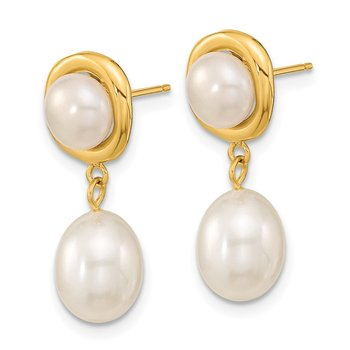 14k 5-7mm White Round/Rice Freshwater Cultured Pearl Dangle Post Earrings