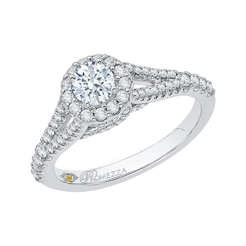 Promezza 14K White Gold Round Diamond Halo Engagement Ring with Split Shank