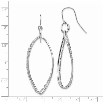 14K White Gold Textured Twisted Dangle Shepherd Hook Earrings