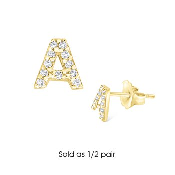 "Diamond Single Initial ""A"" Stud Earring (1/2 pair)"