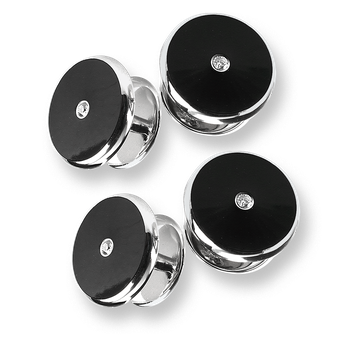 Sterling Silver Round Shirt Studs-Black. Set of 4 with Diamonds.
