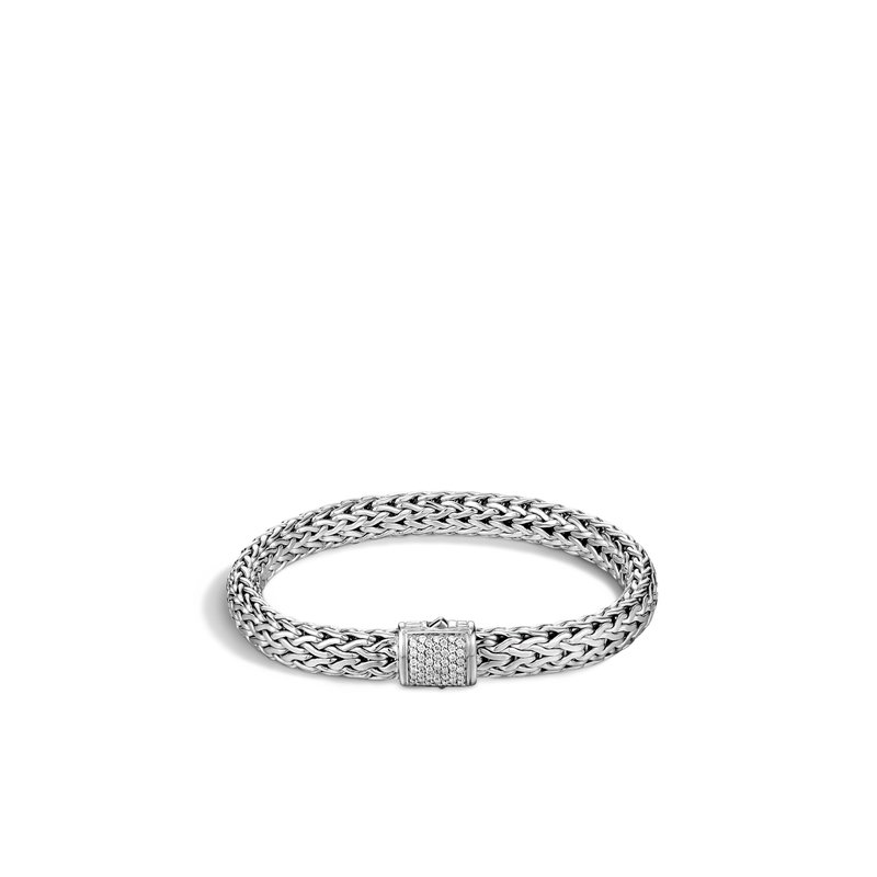 JOHN HARDY Classic Chain 7.5MM Bracelet in Silver with Diamonds
