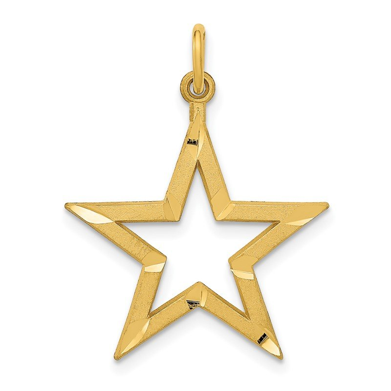 Quality Gold 14k Diamond-cut Star Charm