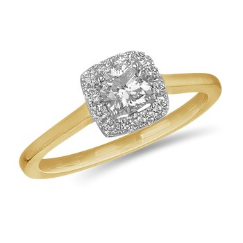 14K YG and diamond engagement ring with Square halo in prong setting 0.70 cts
