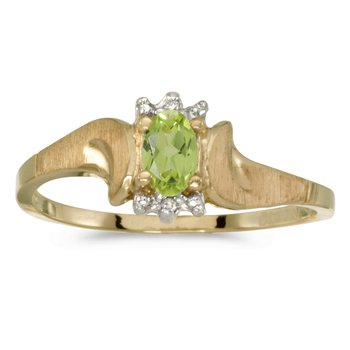 10k Yellow Gold Oval Peridot And Diamond Satin Finish Ring