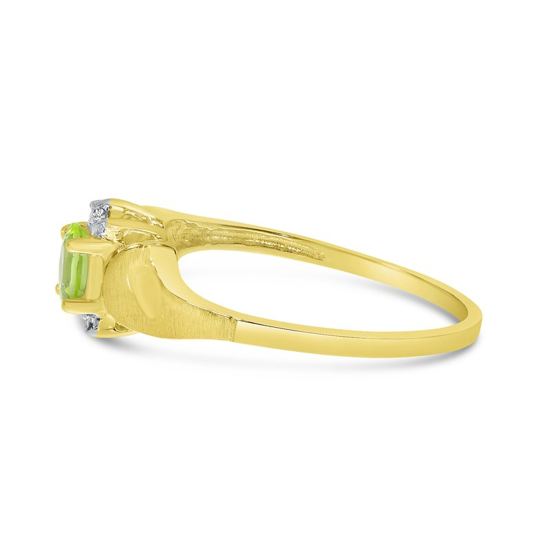 Color Merchants 10k Yellow Gold Oval Peridot And Diamond Satin Finish Ring