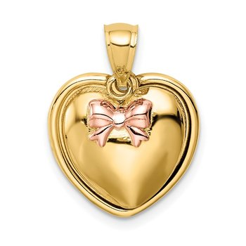 14K w/Rose Rhodium I Love You in Heart Pendant