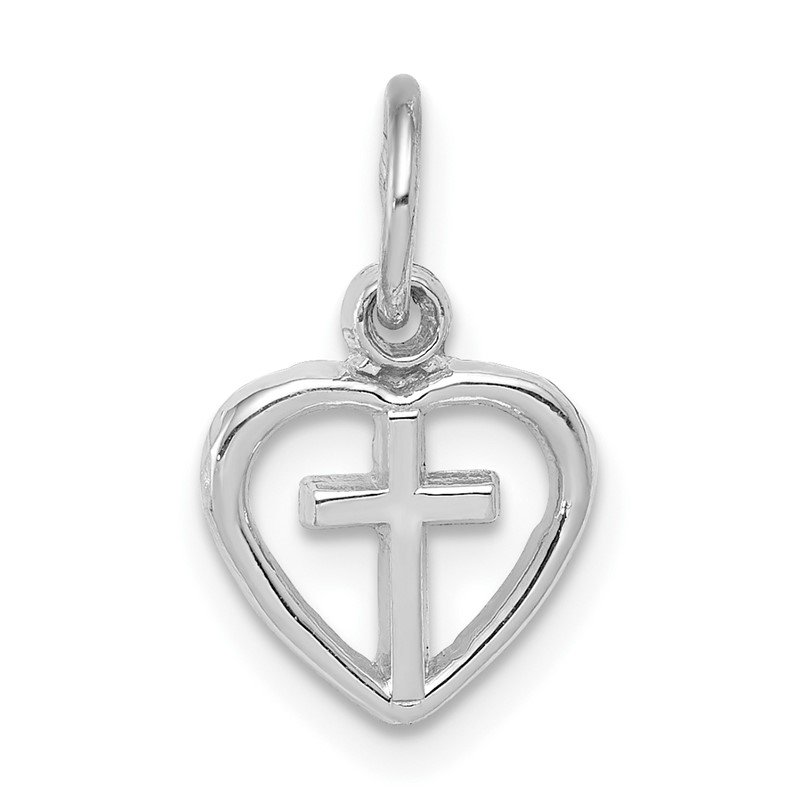 Quality Gold 14k White Gold Cross in Heart Charm