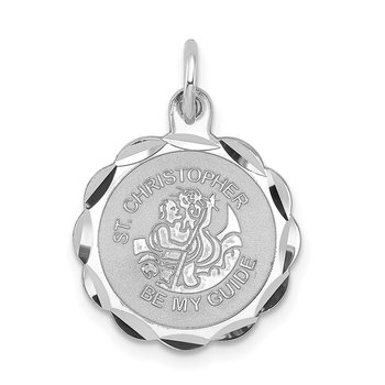 Sterling Silver Rhodium-plated St. Christopher Medal Charm
