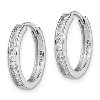 Sterling Silver Rhodium-plated CZ 3x16mm Hinged Hoop Earrings