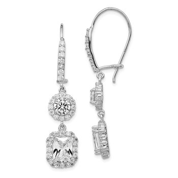 Cheryl M Sterling Silver Rhodium-plated Cushion CZ Kidney Wire Earrings