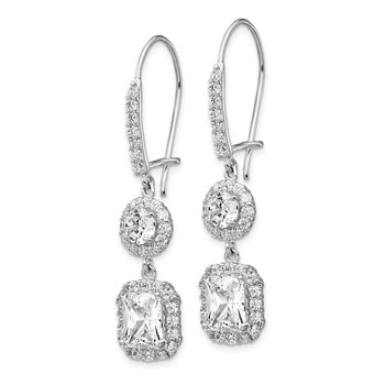 Cheryl M Sterling Silver CZ Kidney Wire Earrings