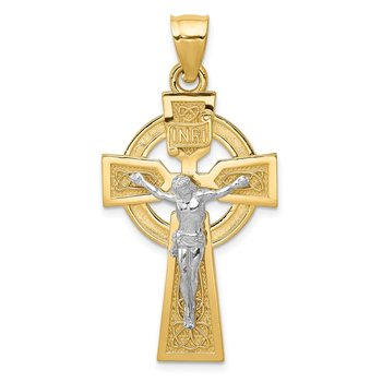 14k Two-tone Polished Celtic INRI Crucifix Pendant