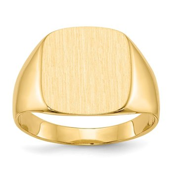 14k 15.0x13.5mm Closed Back Men's Signet Ring
