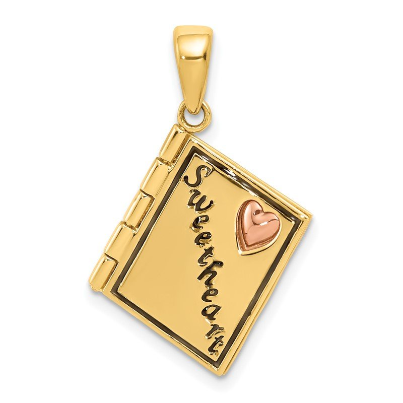 Quality Gold 14K Two-tone 3D Enameled Moveable SWEETHEART Book Charm