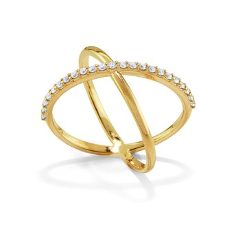 14K Diamond X Ring