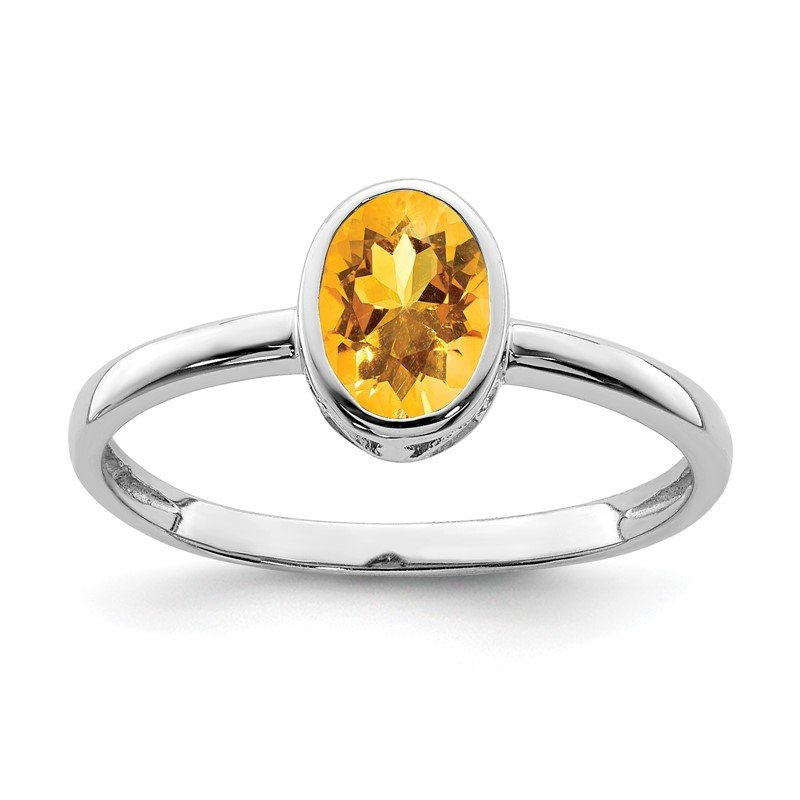 Quality Gold Sterling Silver Rhodium-plated Polished Citrine Oval Ring
