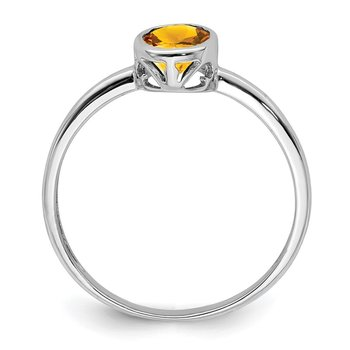 Sterling Silver Rhodium-plated Polished Citrine Oval Ring