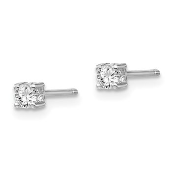 Sterling Silver 3mm Round White Topaz Post Earrings
