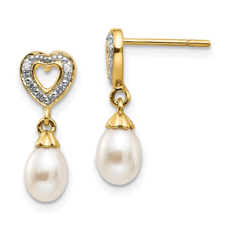 Quality Gold 14k 7x5mm Teardrop FWC Pearl .01ct Heart Diamond Dangle Earrings