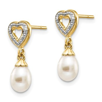 14k 7x5mm Teardrop FWC Pearl .01ct Heart Diamond Dangle Earrings
