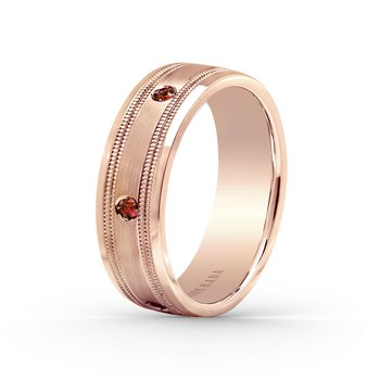 Ruby Milgrain Bold Mens Wedding Band 7mm