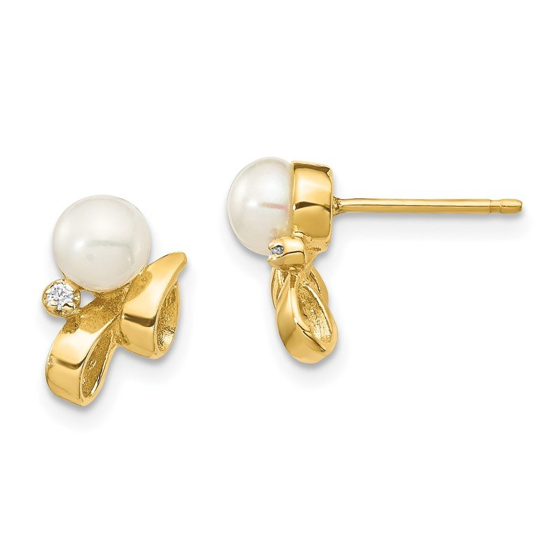 Quality Gold 14K 4-5mm White Button FW Cultured Pearl .02ct Diamond Post Earrings