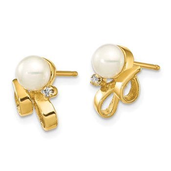 14K 4-5mm White Button FW Cultured Pearl .02ct Diamond Post Earrings