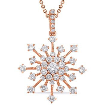 Rose Gold Snowflake Diamond Pendant