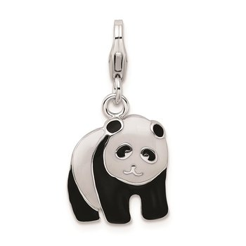 Sterling Silver RH Enameled Panda Bear w/Lobster Clasp Charm