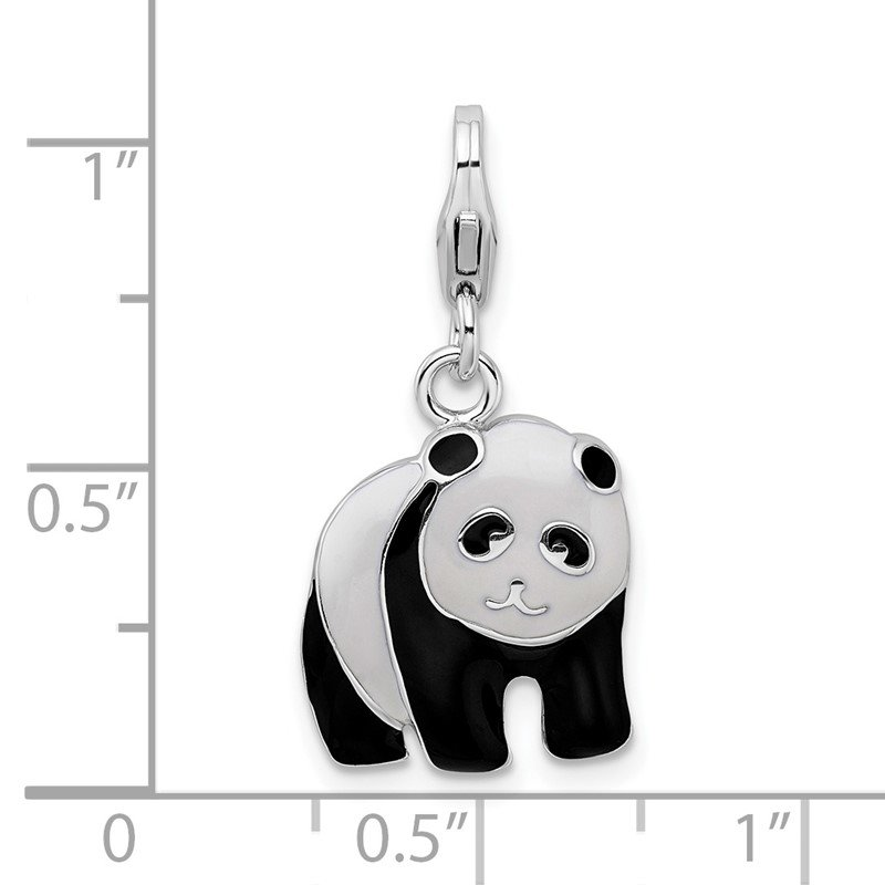 Quality Gold Sterling Silver Amore La Vita Rhodium-plated Enameled Panda Bear Charm