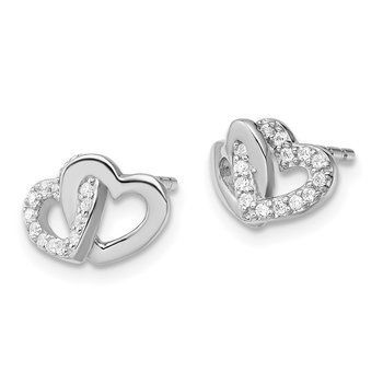 Sterling Silver RH-plated Polished w/CZ Double Heart Post Earrings