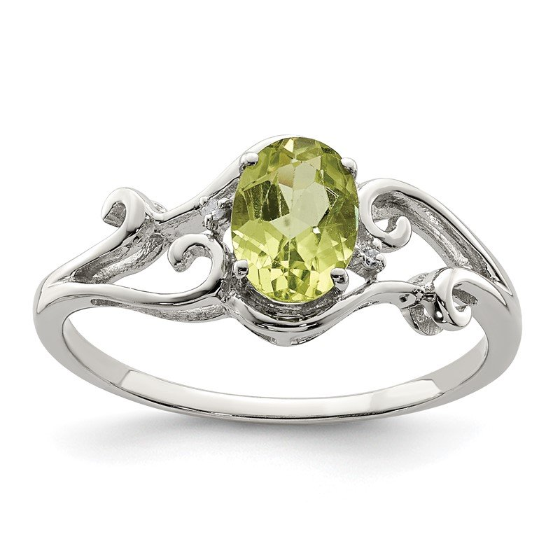 Quality Gold Sterling Silver Rhodium Plated Diamond and Peridot Oval Ring
