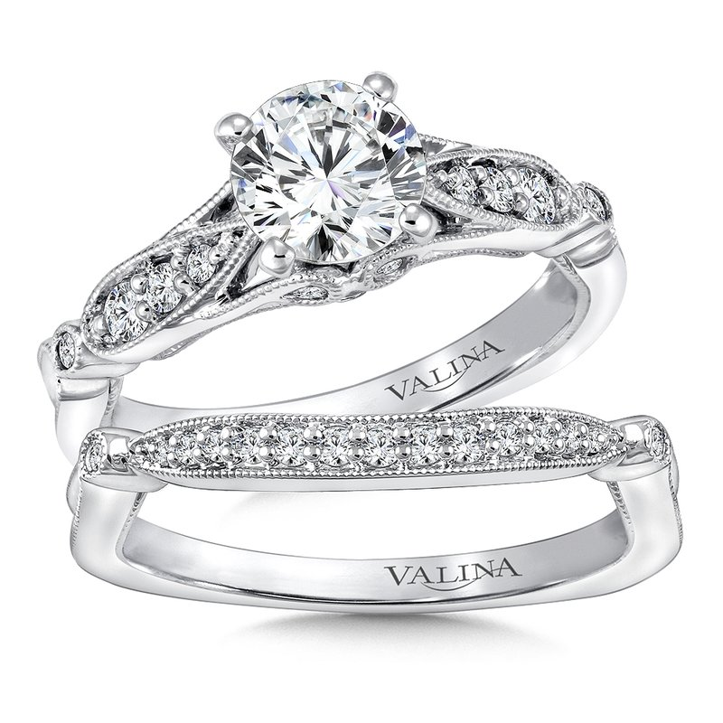 Valina Mounting with side stones .16 ct. tw., 1 ct. round center.