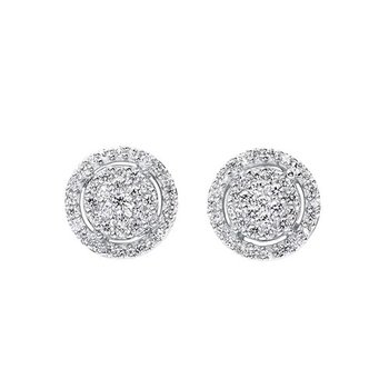 Diamond Halo Cluster Eternity Earrings in 14k White Gold (1/2ctw)