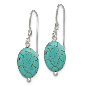 Sterling Silver Blue Reconstructed Magnesite Earrings