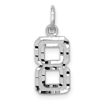 14kw Casted Small Diamond Cut Number 8 Charm