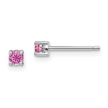 Sterling Silver 3mm Round Created Pink Sapphire Post Earrings