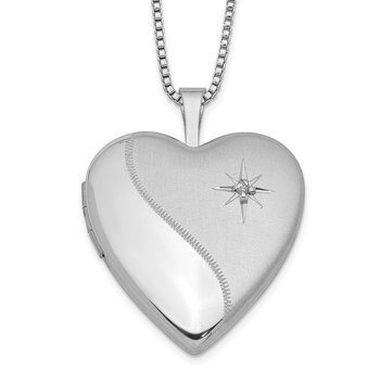Sterling Silver Rhodium-plated 20mm Diamond Heart Locket Necklace