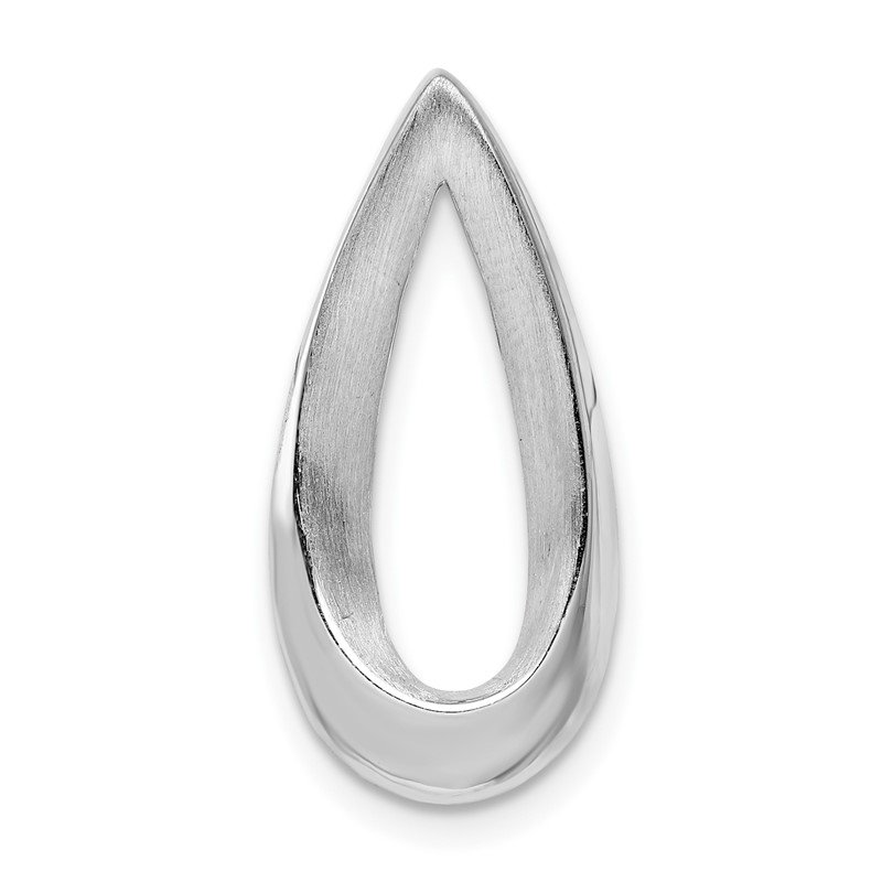 Quality Gold Sterling Silver Rhodium-plated Polished & Brushed Teardrop Chain Slide