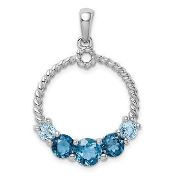 Sterling Silver Rhod-plat London blue and LB topaz Pendant
