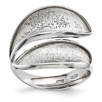Leslie's Sterling Silver Radiant Essence Adjustable Textured Ring